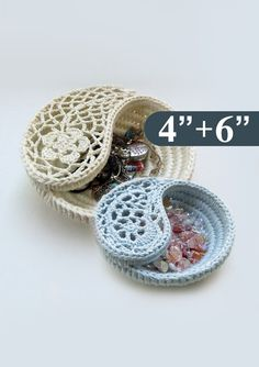 Yin yang dish pattern package, 2 sizes. An original pattern for the Yin Yang jewelry dish.  These dishes are crocheted on rope, which makes them firm yet delicate looking. The Yin yang dish is great as decorative every purpose storage bowl for tiny objects such as jewelry, keys, treasures… Organizes and adds beauty and warmth to your home.