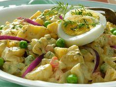 Pečené brambory v salátu s vejci a zeleninou - TopRecepty.cz Potato Salad, Pasta Salad, Potatoes, Meat, Chicken, Ethnic Recipes, Cooking, Crab Pasta Salad, Kitchen