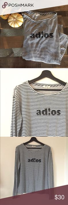 {Madewell} Ad!os Striped Knit Top EUC! Comfortable, loose fitting Knit Top. Navy and white striped. Size Medium. Madewell Tops Tees - Long Sleeve