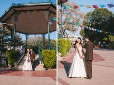 Papel Picado paper banners over bride and groom wedding portraits Olvera Street Los Angeles