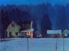 """WinterTwilight on Big Valley Rd.  oil landscape nocturn painting"" - Original Fine Art for Sale - © Robin Weiss"