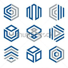 Hexagon shaped logo design elements 2. Abstract hexagonal vector symbols, blue and grey.