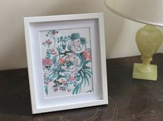 Original handpainted turquoise and pink floral & by ClareTherese, £24.00