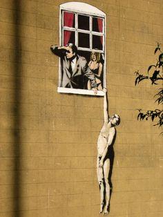 Banksy graffiti art hanging out the window iron on t shirt transfer or sticker Banksy Graffiti, Street Art Banksy, Banksy Prints, Bansky, Graffiti Artwork, Graffiti Painting, Canvas Artwork, Art Du Monde, Magnum Opus