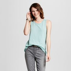 Women's Muscle Tank Top Teal (Blue) S - Mossimo Supply Co.