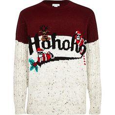 Boys cream colour block christmas jumper #riverisland #rikidswear #christmascracker