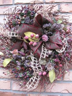 PLUM PERFECT fall wreath with leaves berries by faucettandflame, $42.99