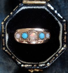 Antique Victorian Opal and Turquoise Ring by VictorianSpiritRings, $285.00