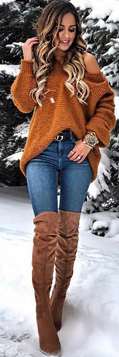 Cognac color sweater and accessories fall winter outfits, winter wear, autumn winter fashion, Mode Outfits, Casual Outfits, Fashion Outfits, Womens Fashion, Fashion Trends, Cute Outfits With Jeans, Classy Outfits, Fashion Ideas, Fall Winter Outfits