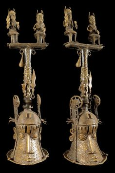 Africa | Ceremonial Bells from the Bini Edo people of the Kingdom of Benin, southern Nigeria | Copper alloy; bronze or brass | ca. 1950