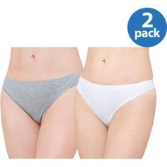 Best Fitting Panty Cotton Stretch Thong, 2 Pack, Size: 10, White