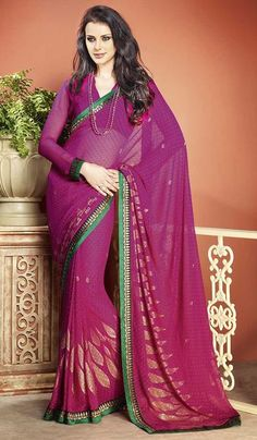 G3Fashions Magenta Georgette Printed Party Wear Saree.  Product Code : G3-LS11084 Price : INR RS 1952