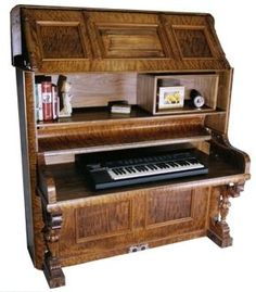 Piano Desk 3- WOW who knew. Greatest recycle idea I have seen in awhile..if I only had an old piano like this