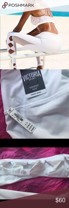 VSX White Knockout Sport Tight Leggings NWT. Ballet style leggings. Bright white. Victoria's Secret Pants Leggings