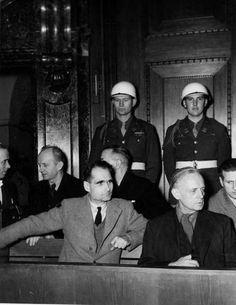 Rudolf Hess and Joachim von Ribbentrop at the Nuremberg War Crimes Trials.