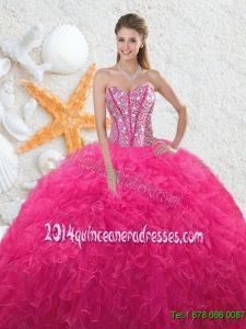 91dff26c0fb Beautiful 2016 Sweetheart Hot Pink Quinceanera Dresses with Beading 2017 Quinceanera  Dresses