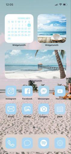 Blue Aesthetic Pastel, Beach Aesthetic, Instgram App, Aesthetic Iphone Wallpaper, Aesthetic Wallpapers, Beach Icon, Phone Themes, Ios Icon, Iphone Icon