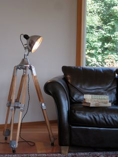 I think I could build a vintage tripod like this and make some sort of industrial style lamp to go with it. Tripod Lighting, Tripod Floor Lamps, Lamp, Creative Lighting, Lamp Light, Industrial Interiors, Floor Lamp, Flooring, Vintage Lighting