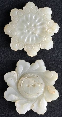 Jade flower button, for decorating garment, headdress or jewellery. Ming dynasty. China.