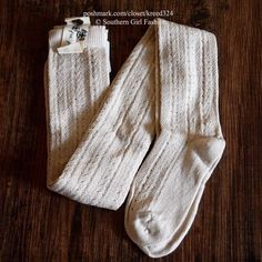 "FREE PEOPLE $24 ""Thigh High Socks Textured Long Tall"" - One Size, Beige - NWT #FreePeople #ThighHighs"