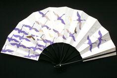 Japanese Dance Fan Mai Ogi Crane Purple Silver by VintageFromJapan, $22.00