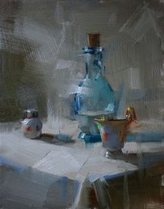 Shower in Cool Light, painting by artist Qiang Huang