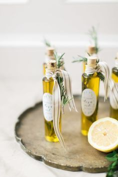 Olive oil labels: http://www.stylemepretty.com/2015/05/11/olive-oil-favors-with-avery/ | Photography: Ruth Eileen - http://rutheileenphotography.com/