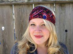 Wide Headband, Women's Head band, Yoga Headband, Exercise hair wrap, Red Headband, Cute headband, Adult Headwrap,  Bandana headband,  hair