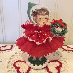 Your place to buy and sell all things handmade Christmas Figurines, Vintage Christmas Ornaments, Retro Christmas, Whimsical Christmas, Christmas Craft Projects, Christmas Crafts, Christmas Decorations, Christmas Makes, Felt Christmas