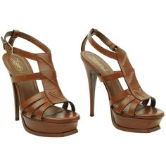 YVES SAINT LAURENT YSL leather multi strap T bar sandal ($425) ❤ liked on Polyvore featuring shoes, sandals, heels, high heels, leather shoes, leather heeled sandals, t strap platform sandal, heeled sandals and high heel platform sandals