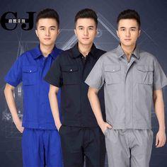 (10 conjuntos de Camisa y Pantalón) Mecánico Uniformes tops pantalones largos Guardapolvos Hombres Fábrica