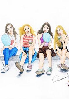 Best Friend Drawings, Bff Drawings, 4 Best Friends, Best Friends Forever, Friend Cartoon, Girl Cartoon, Bff Pictures, Best Friend Pictures, Cute Girl Drawing