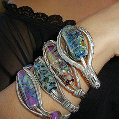 Silver Wire Wrapped Bracelets Custom Orders by BlackwolfJewelry