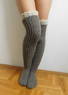 This listing is a Crochet PATTERN for knee high socks (or over the knee) with lace top, NOT a finished socks! Pattern is written in American Crochet terms and include 10 pages with 50 step by step pictures. Pattern includes directions on how to make croch Crochet Socks Pattern, Crochet Boots, Basic Crochet Stitches, Crochet Slippers, Crochet Basics, Crochet Clothes, Knit Crochet, Knitting Patterns, Crochet Patterns
