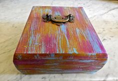 Jewelry Keepsake Wood-Repurposed Cigar Box-Distress Painted Fuchia Yellow and Blue-Vintage Chippendale 1950 Drawer Handle by PippinPost on Etsy