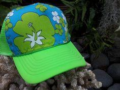 Trucker Hat Neon Green w/Hand Stitched Vintage by AumoanaDesigns, $25.00