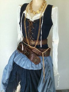 Womens Pirate Costume  10 Pieces  Gold by PassionFlowerVintage