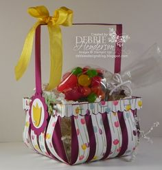 Stampin' Up! Berry Basket Die with additional loops of designer paper added. Debbie Henderson, Debbie's Designs.