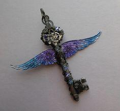 Winged Clockwork Key Pendant  Steampunk by silverowlcreations, $82.00