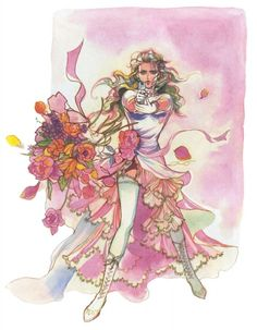 Tomomi Kobayashi, concept artist of the SaGa video game series. Color, fashion, character, flow, sensuality. Emilia Wedding Dress - SaGa Frontier Concept Art