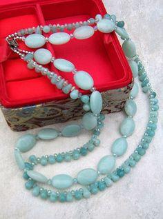 Double Strand Amazonite Necklace, Handmade Amazonite Gemstone Jewelry on Etsy, $50.00