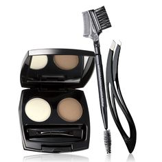 """Give your brows the respect they deserve! A $17 value, the set includes: Brow Brush – Nylon bristles, 6 3/8"""" L. A $5.99 value. Ergonomic Tweezer – Stainless steel tip. A $5 value. Perfect Eyebrow Kit – Wax .035 oz. net wt. Powder .046 oz. net wt. A $6 value."""