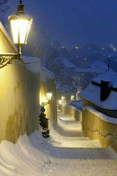 Prague in Winter. Just love Prague! Winter Szenen, Winter Magic, Winter Night, Winter Time, Winter Walk, Prague Tourist Guide, Beautiful World, Beautiful Places, Snow Scenes