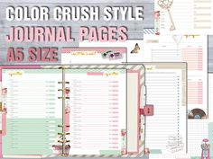 Color crush style printable journal pages a5 planner size