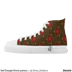 Red Triangle Flower pattern - hightop shoes