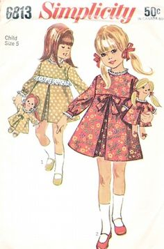 Simplicity Pattern 6813 Vintage 60's Cute Girls Dress + Doll with Matching Outfit!
