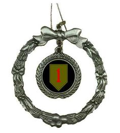If you need a unique gift for this holiday season then this beautifully detailed Pewter Army 1st Infantry Division Wreath Ornament is just that. All of Our Pewter Christmas Ornaments are 100% made in the USA. *Considered collectibles, ornaments are one of those things that are remembered & kept for a lifetime. Pewter is an attractive metal that was used in the ancient world by the Egyptians & later the Romans & British to make various household & everyday items.