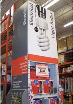 Large Format Printing Portfolio Sample - Home Depot End Cap Signage Portfolio Samples, Large Format Printing, Point Of Purchase, Art And Technology, Home Depot, Signage, Bulb, Cap, Prints