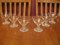 Set Of Six Vintage Anchor Hocking Boopie Clear Glass Champagne ~ Tall Sherbet