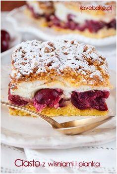 Cherry layer cake / Ciasto z wiśniami – ilovebake. Polish Desserts, Polish Recipes, Cherry Desserts, Cookie Desserts, Cherry Cake, Cake Recipes, Dessert Recipes, Breakfast Menu, Gluten Free Cakes